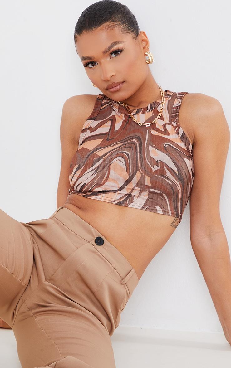 Brown Rib Abstract Swirl Print Crop Vest 1