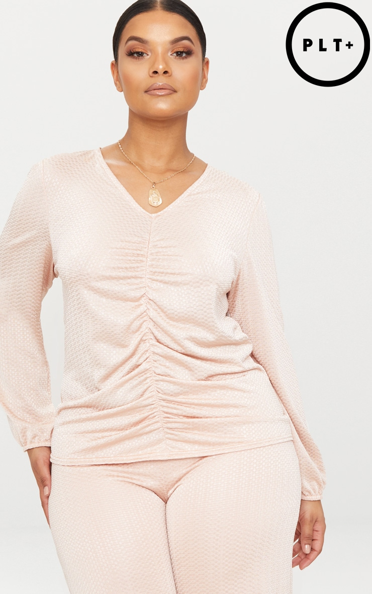 Plus Champagne Textured Plunge Top 1