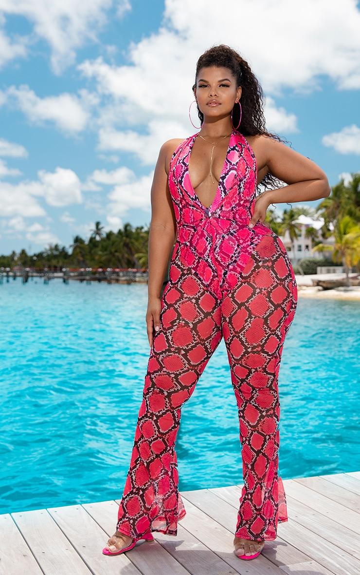 Plus Pink Snake Print Mesh Halterneck Jumpsuit 1