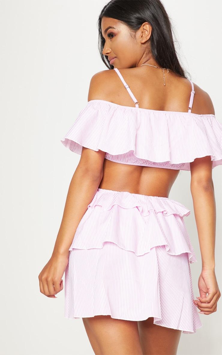 Pink Stripe Bardot Tiered Cut Out Shift Dress 2