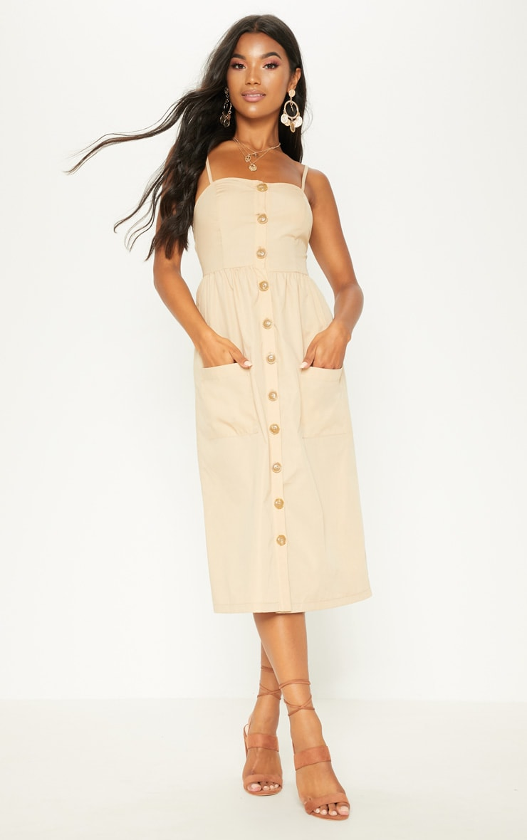 Stone Button Down Midi Dress 1