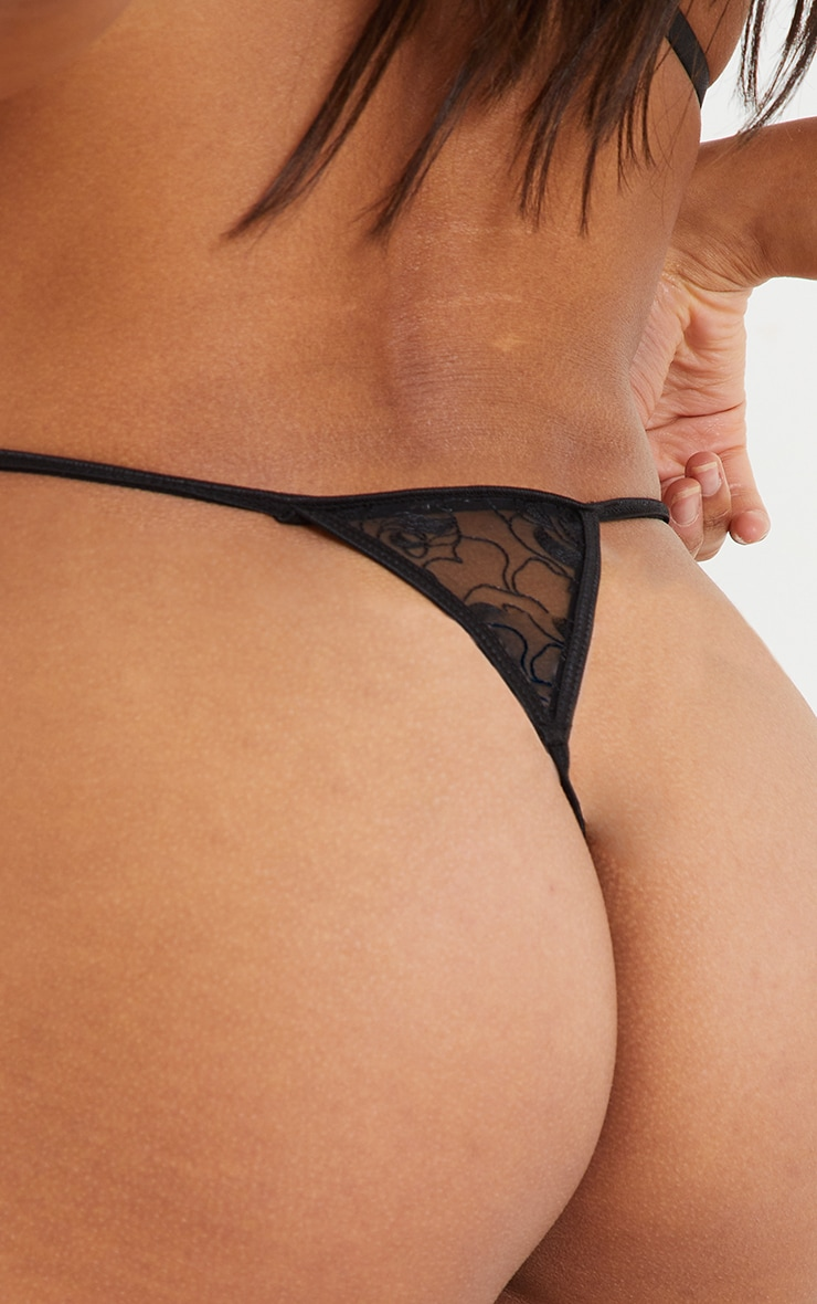 Black Floral Lace Strappy Thong 2