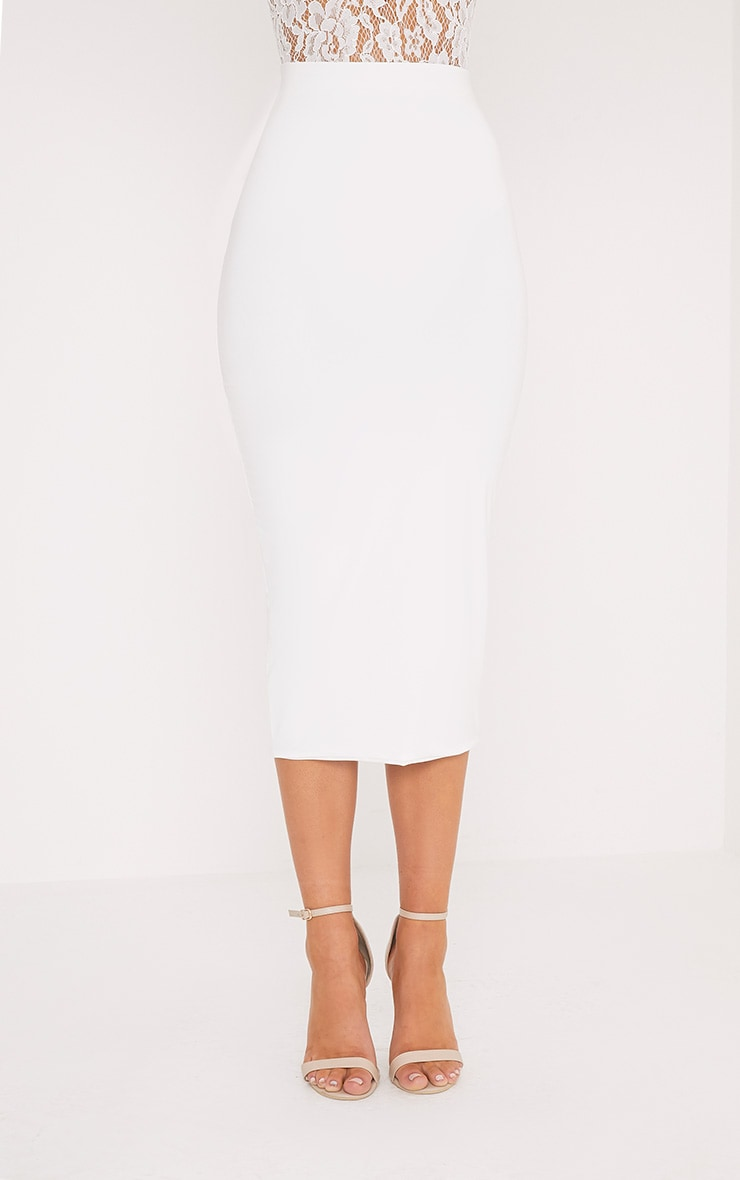 Steffany Cream Slinky Long Line Midi Skirt 2