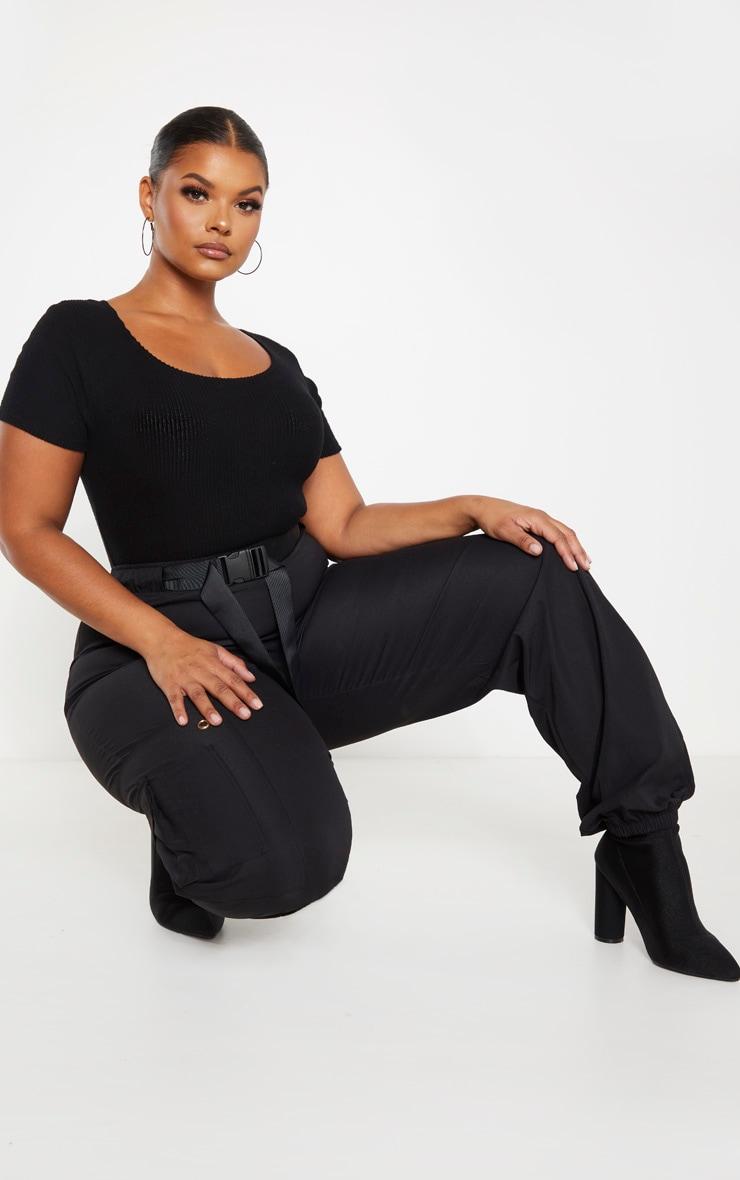 Plus Black Brushed Rib Bodysuit 7
