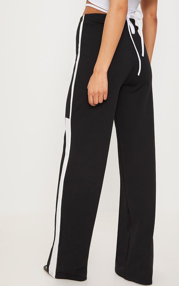 Black Contrast Binding Stripe Straight Leg Trouser 4