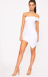 33bde4640d77 White One Arm Wrap Over Bodycon Dress image 4