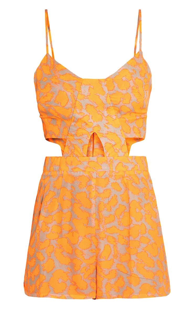 Misha Bright Orange Leopard Print Cut Out Playsuit 4