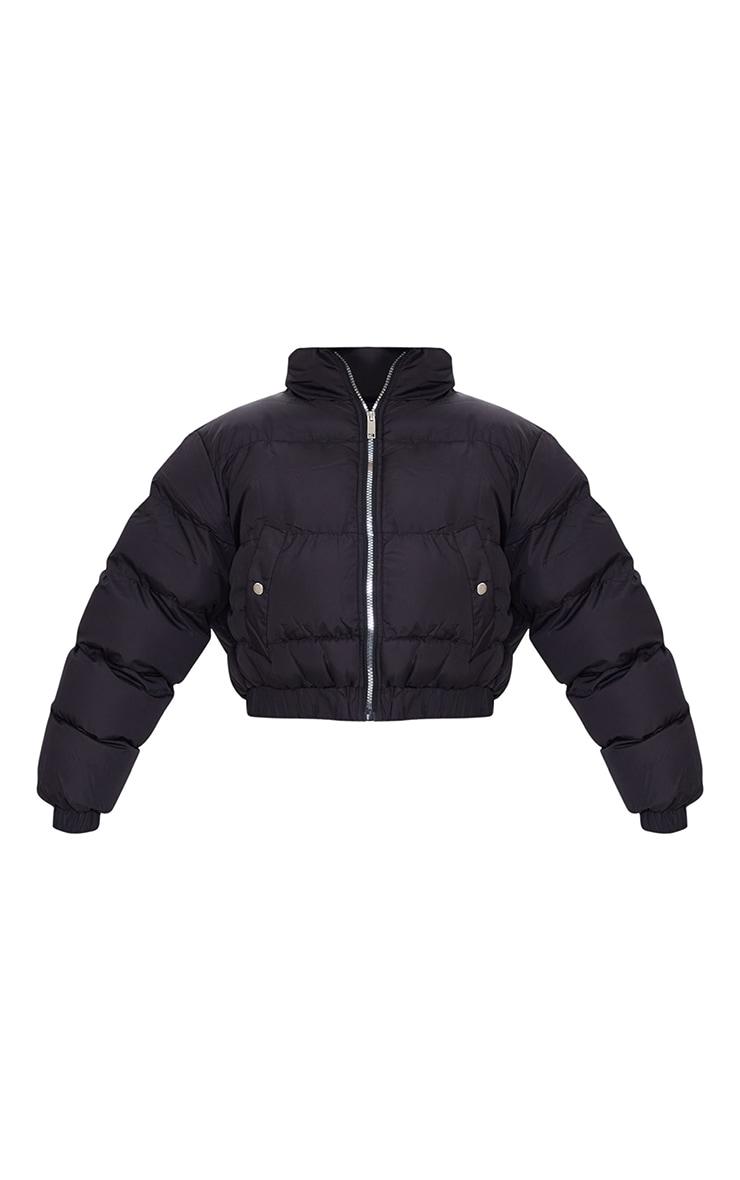 Black Cropped Elastic Hem Bubble Puffer Jacket 5