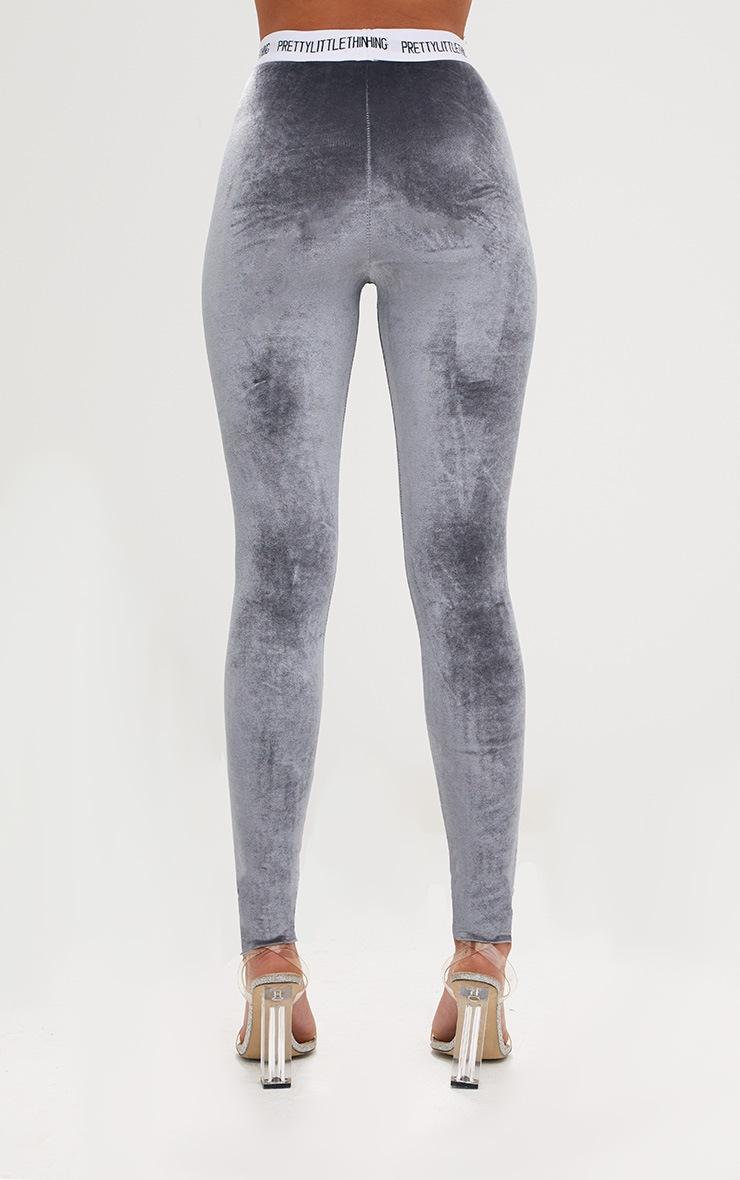 PRETTYLITTLETHING Grey Velvet Leggings 4
