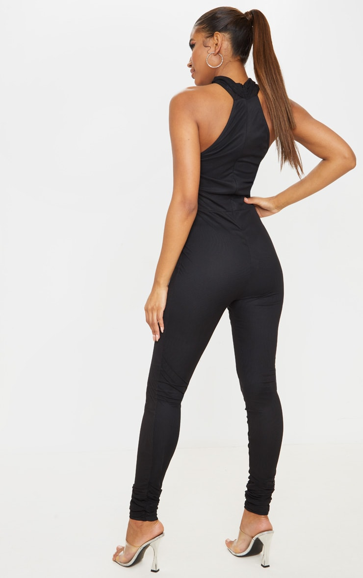 Black Ruched Mesh High Neck Jumpsuit 2