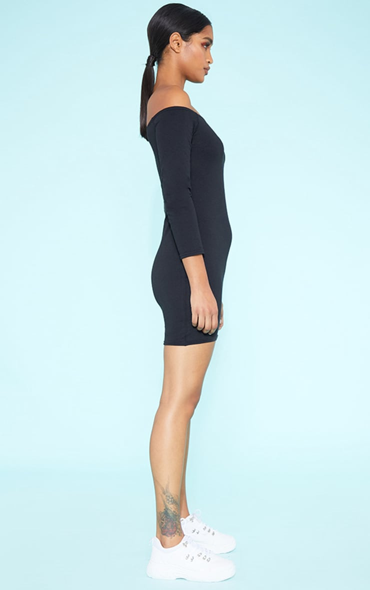 RECYCLED Bardot Bodycon Dress Black 3