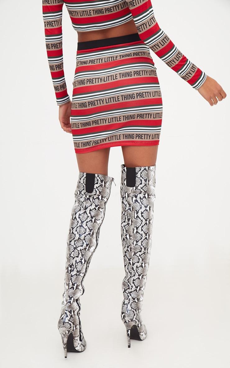 PRETTYLITTLETHING Red Slinky Stripe Mini Skirt  4