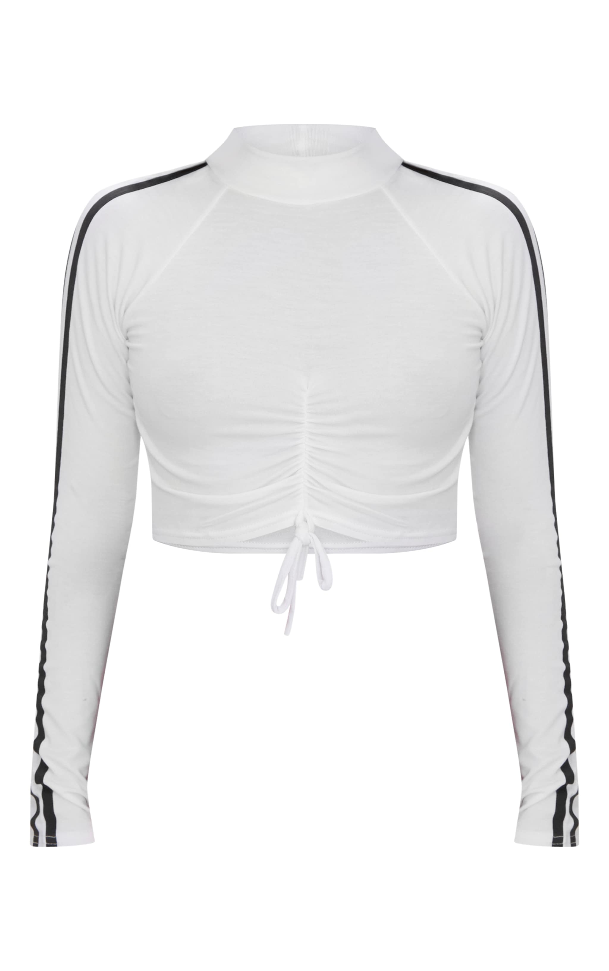 Petite White Ruched Sports Stripe Crop Top 3