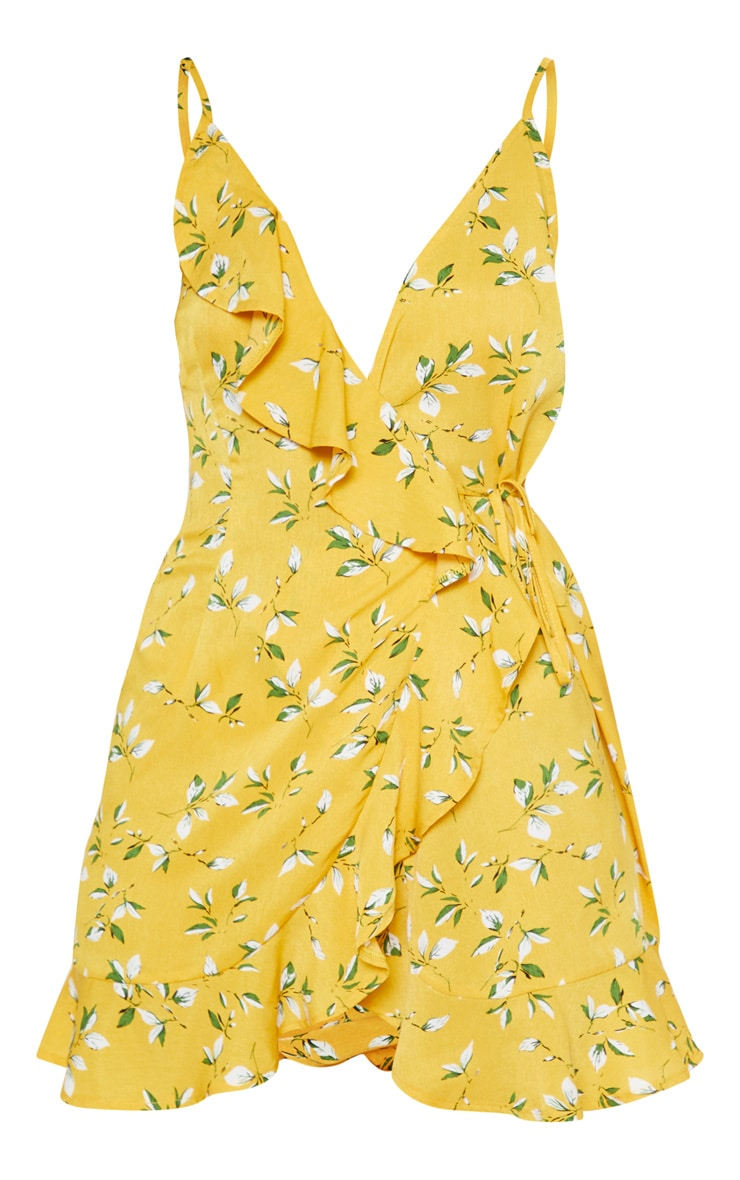 Yellow Floral Print Lace Up Back Ruffle Tea Dress  3