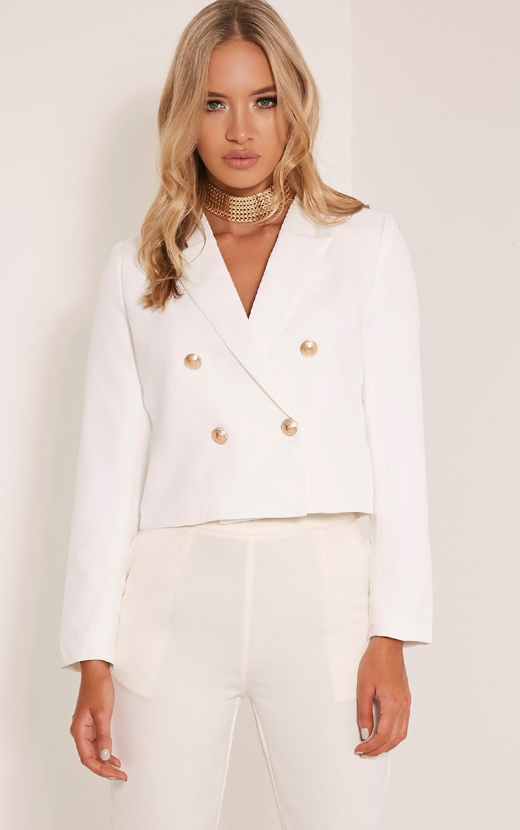 Dionne Cream Cropped Military Style Blazer 1