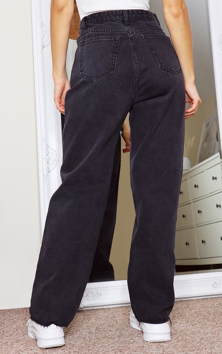 Washed Black Seam Pocket Detail Mom Jeans 3