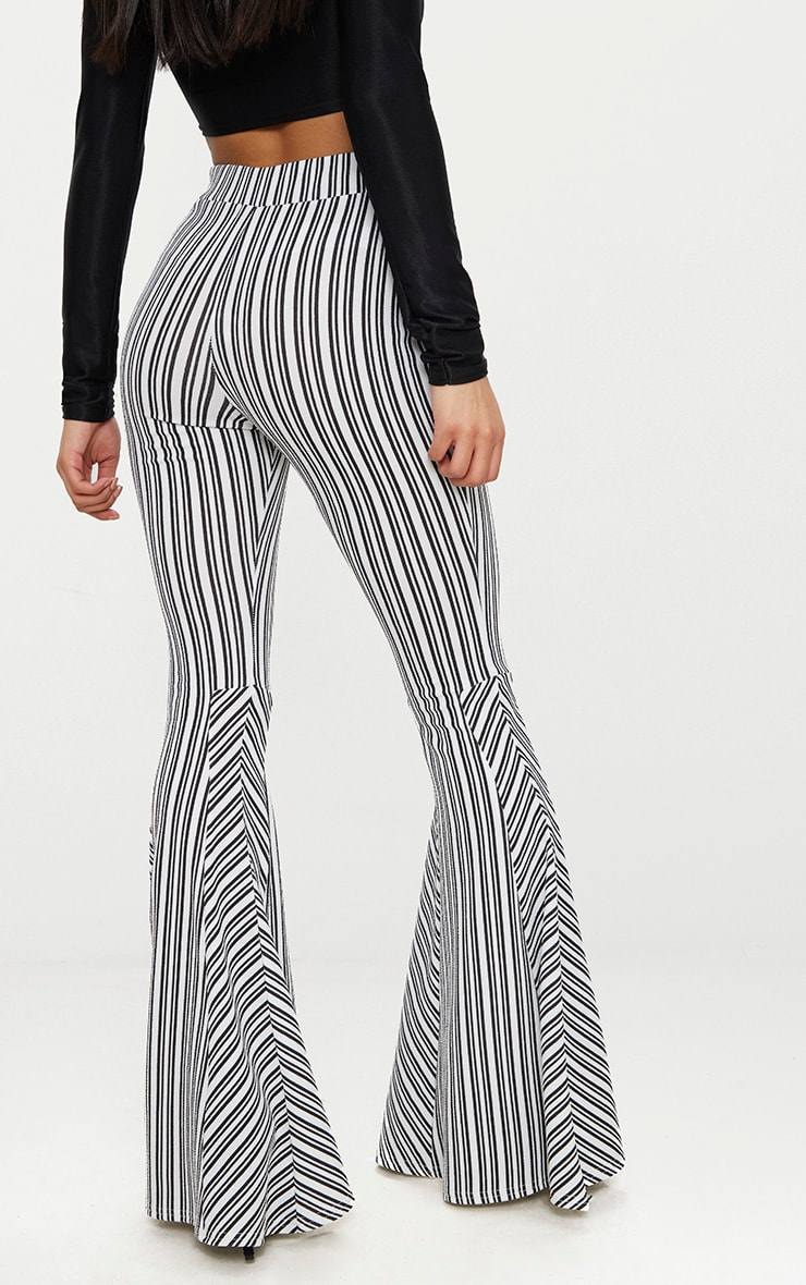 Black and White Stripe Extreme Flare Trouser 3
