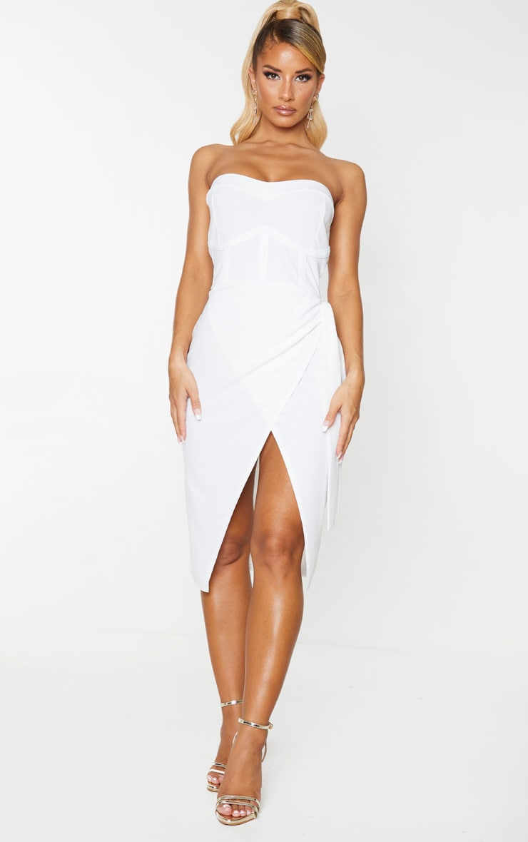 White Binding Detail Tie Wrap Bandeau Midi Dress 1