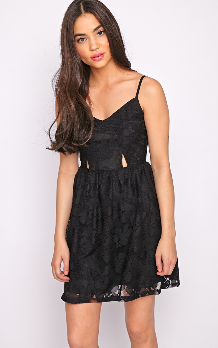 Lissy Black Lace Skater Dress 5