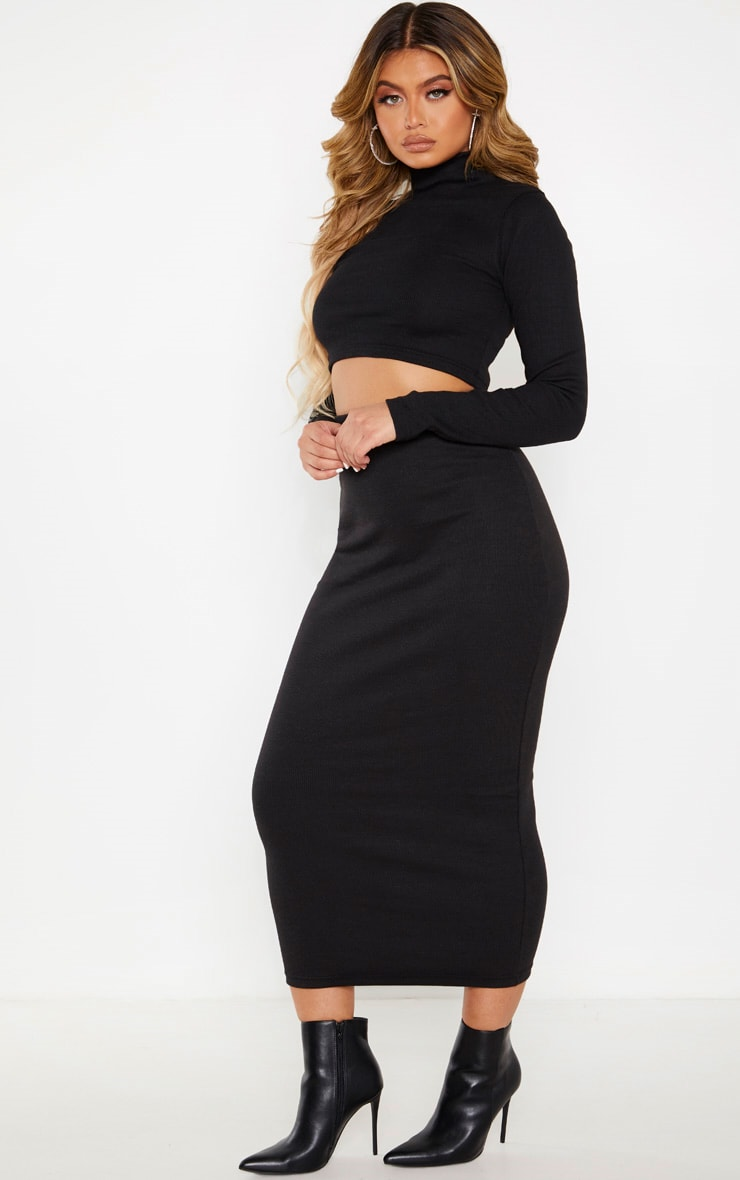 Black High Neck Structured Rib Long Sleeve Crop Top 4
