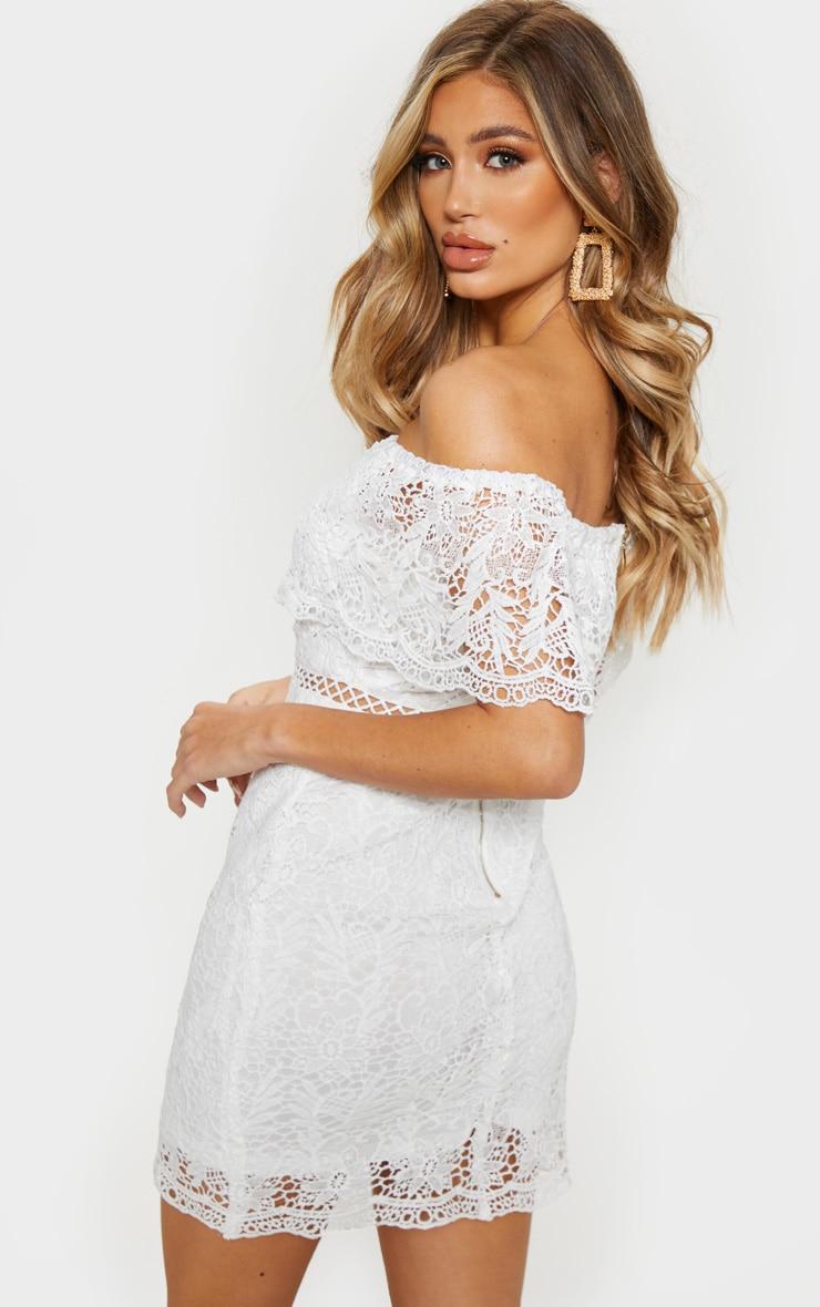 White Bardot Lace Shift Dress 2