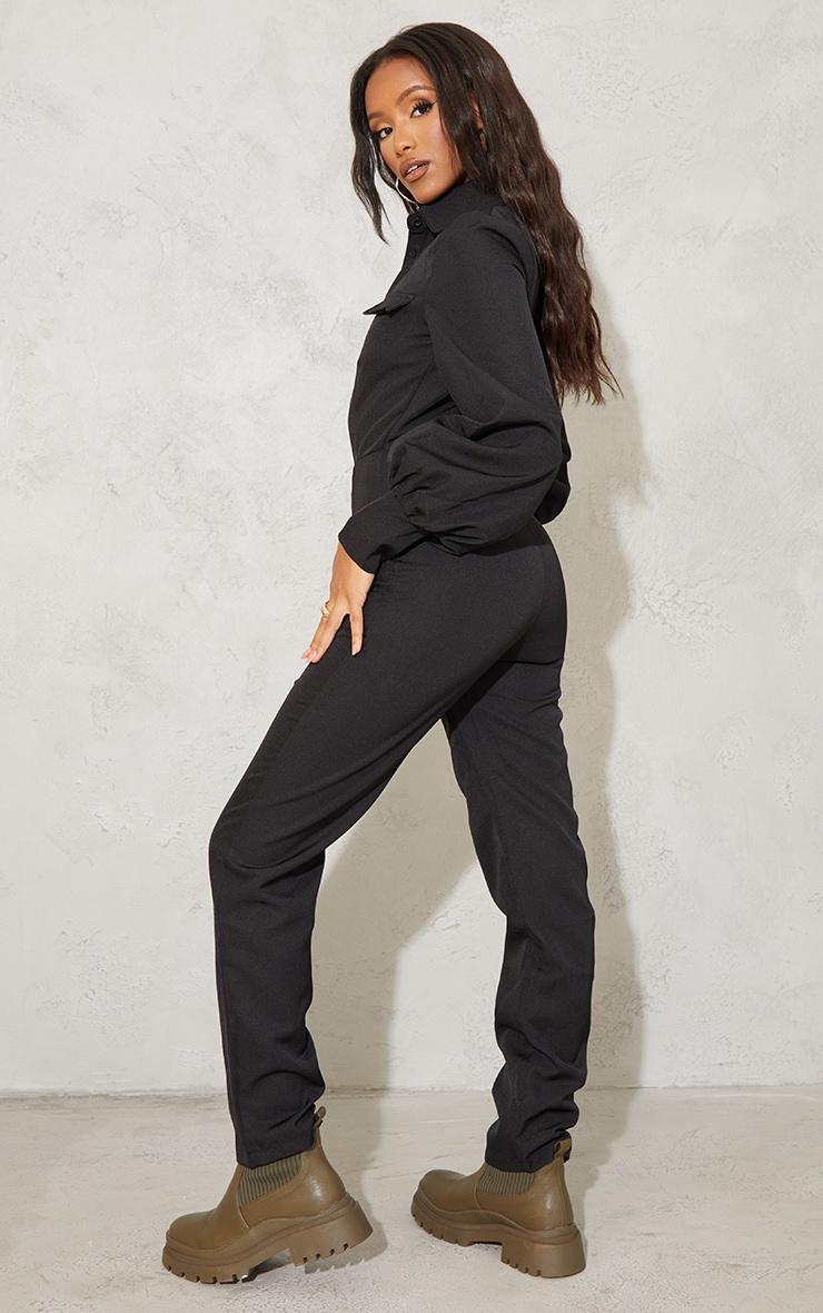 Petite Black Full Sleeve Pocket Detail Jumpsuit 2