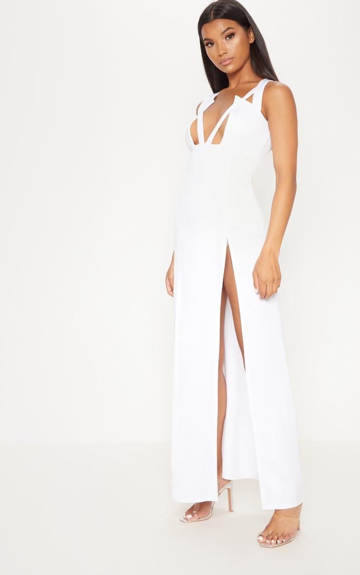 White Pointy Bust Detail Extreme Split Maxi Dress 4