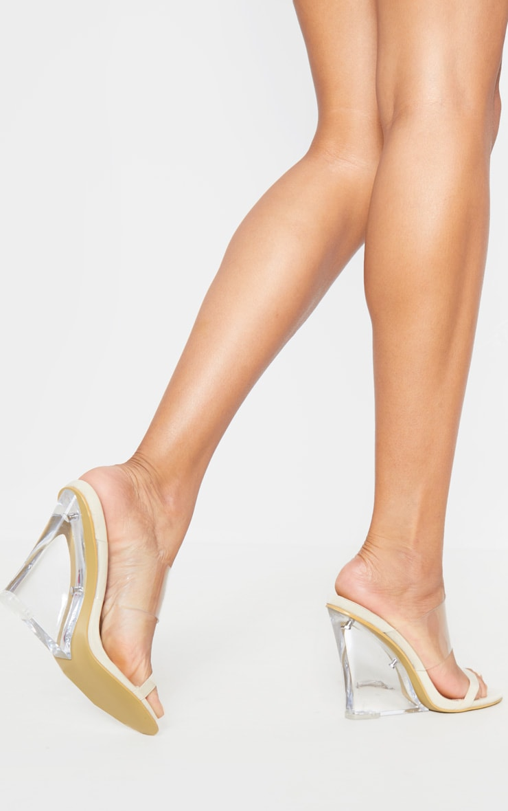 Nude Clear Wedge Mule Sandal 2