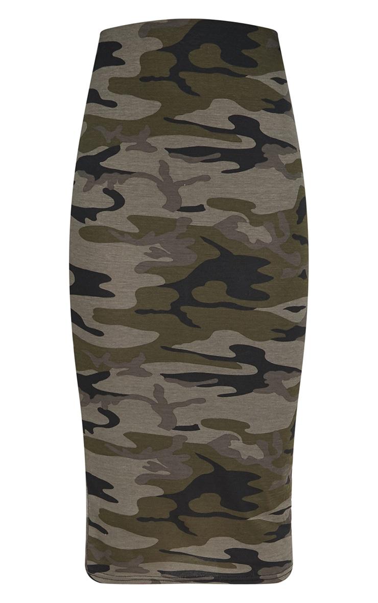 Khaki Camo Print Midi Skirt 3