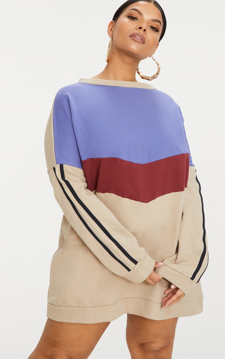 Plus Taupe Chevron Panel Oversized Sweater Dress 1