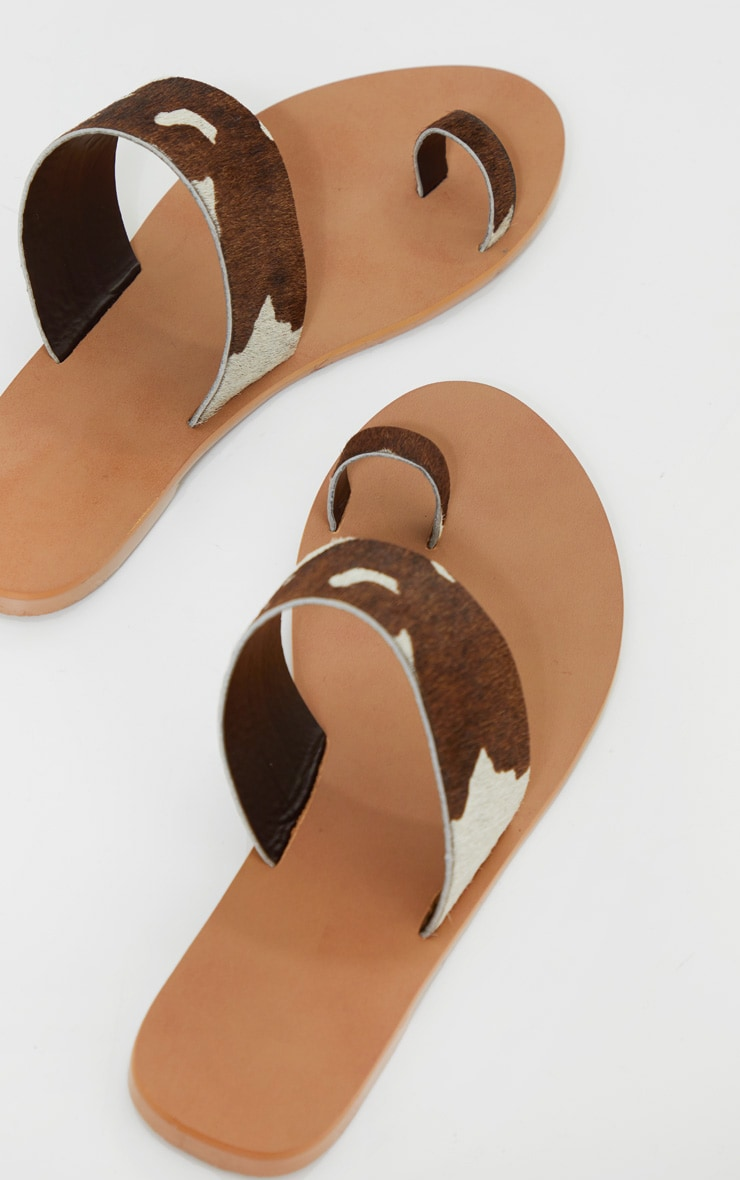 Brown Cow Print Toe Loop Single Strap Mule Sandals 4