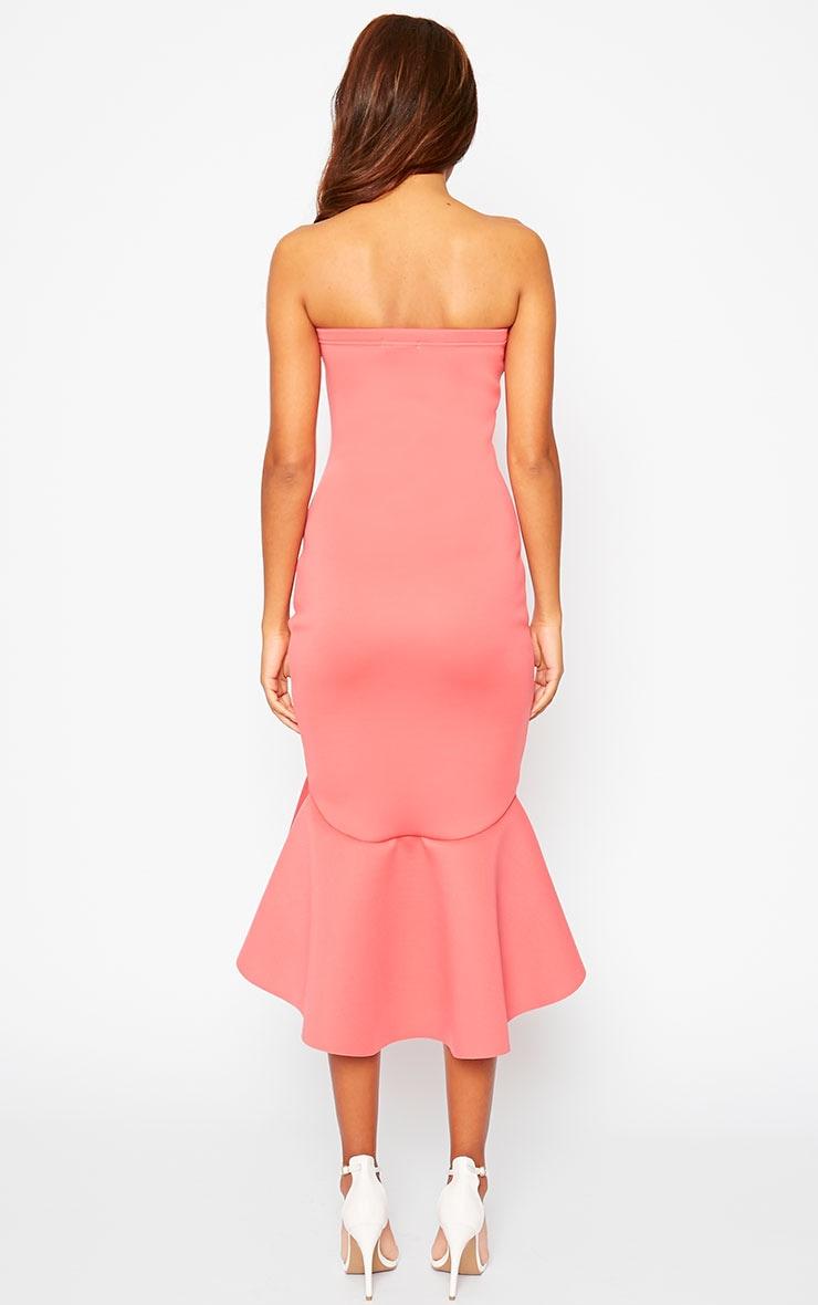 Aisha Coral Bandeau Fish Tail Dress 2
