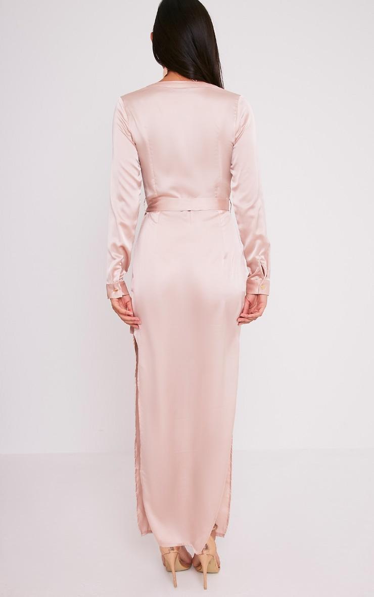 Clairia Champagne Button Down Silk Shirt Dress 2