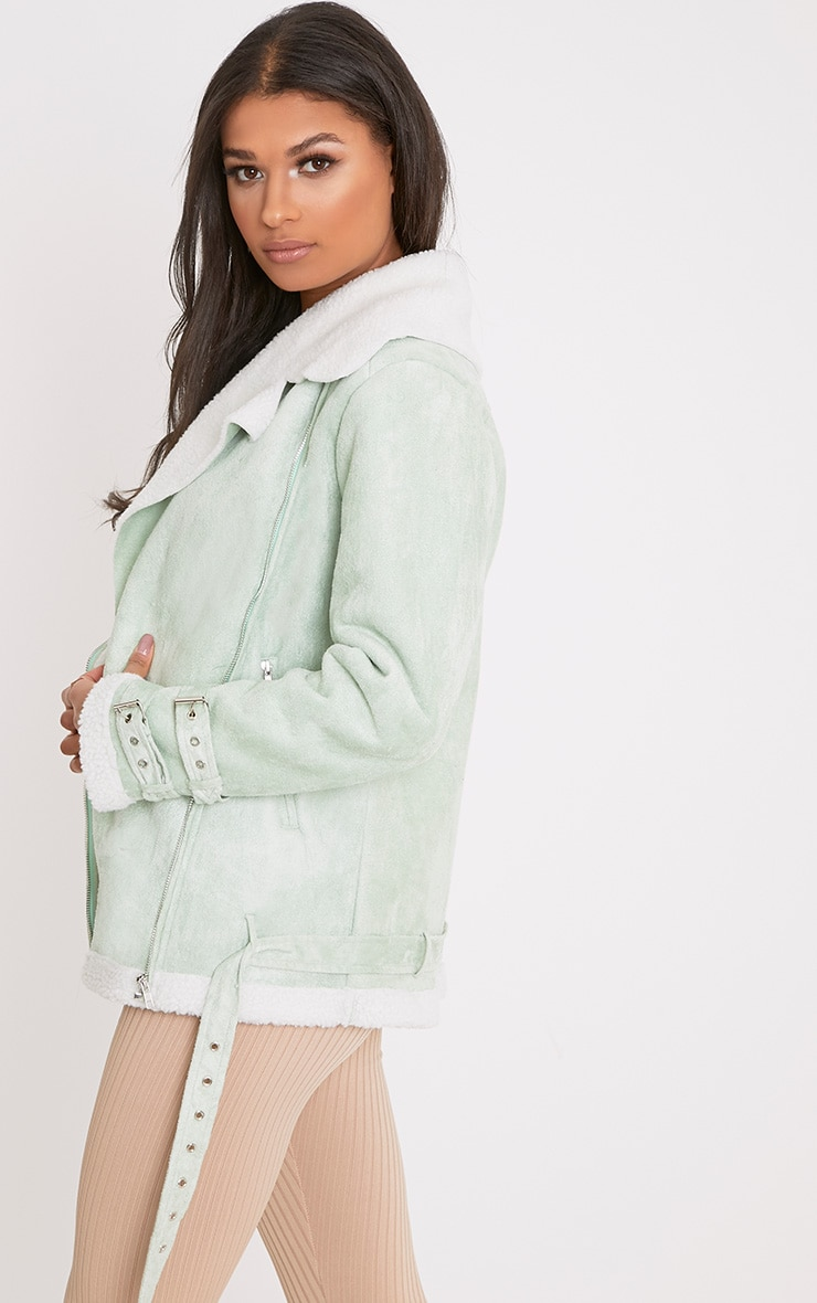 Emilia Sage Green Faux Suede Aviator Jacket 2