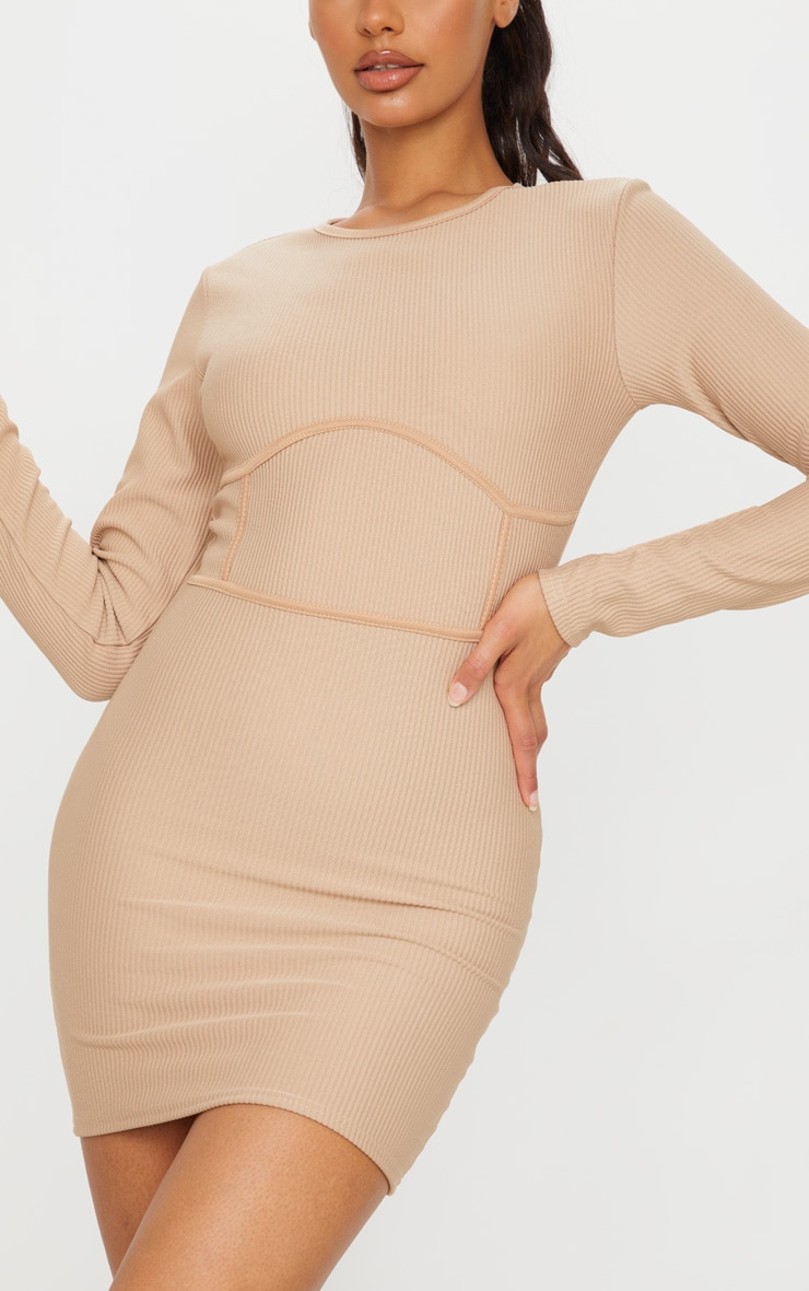 Stone Rib Binding Detail Long Sleeve Bodycon Dress 4