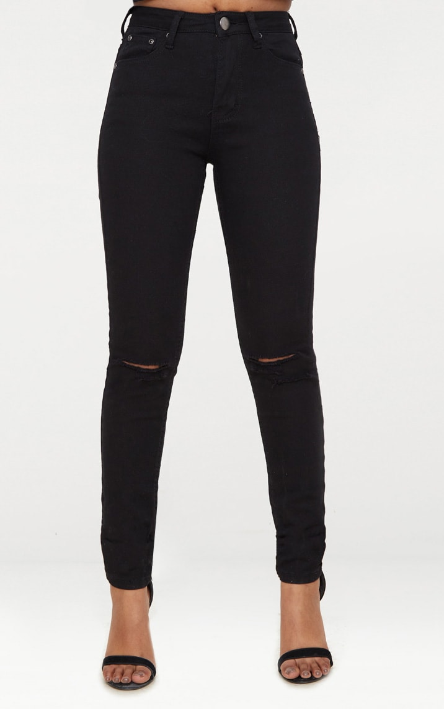 Petite Black Knee Rip Slim Jean 6