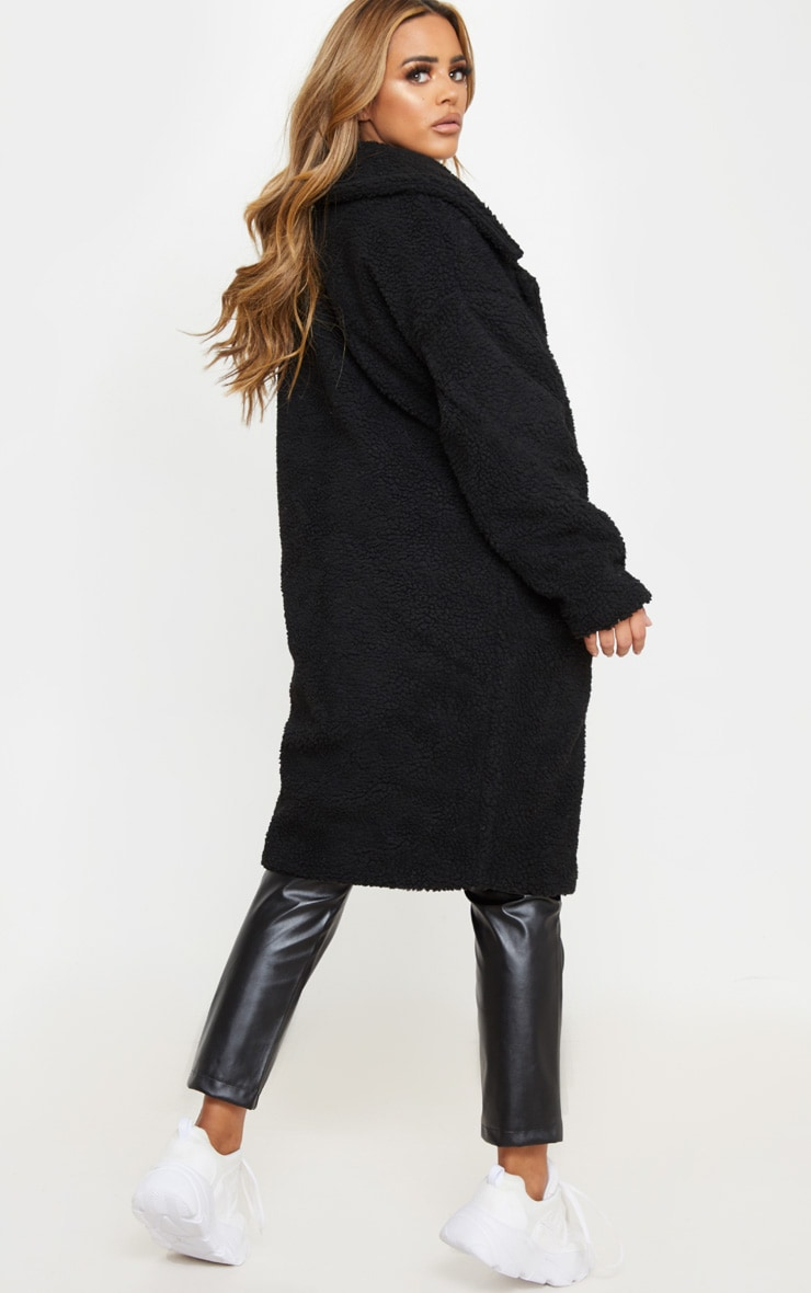 Petite Black Borg Oversized Coat 2