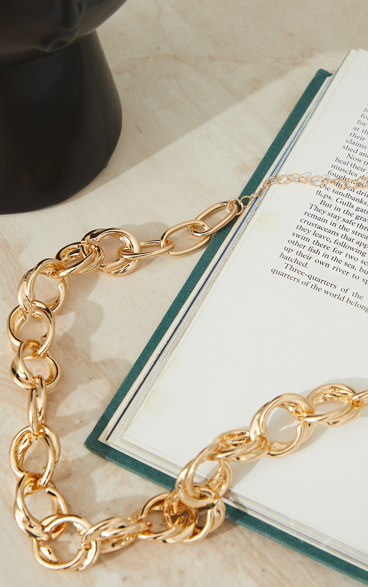 Gold Double Hoop Chain Necklace 3