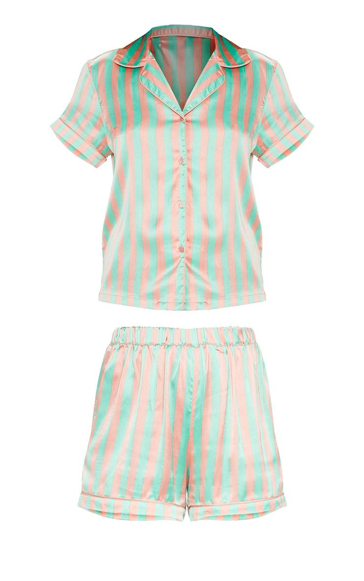 Ensemble de pyjama vert sauge rayé à boutonner 3