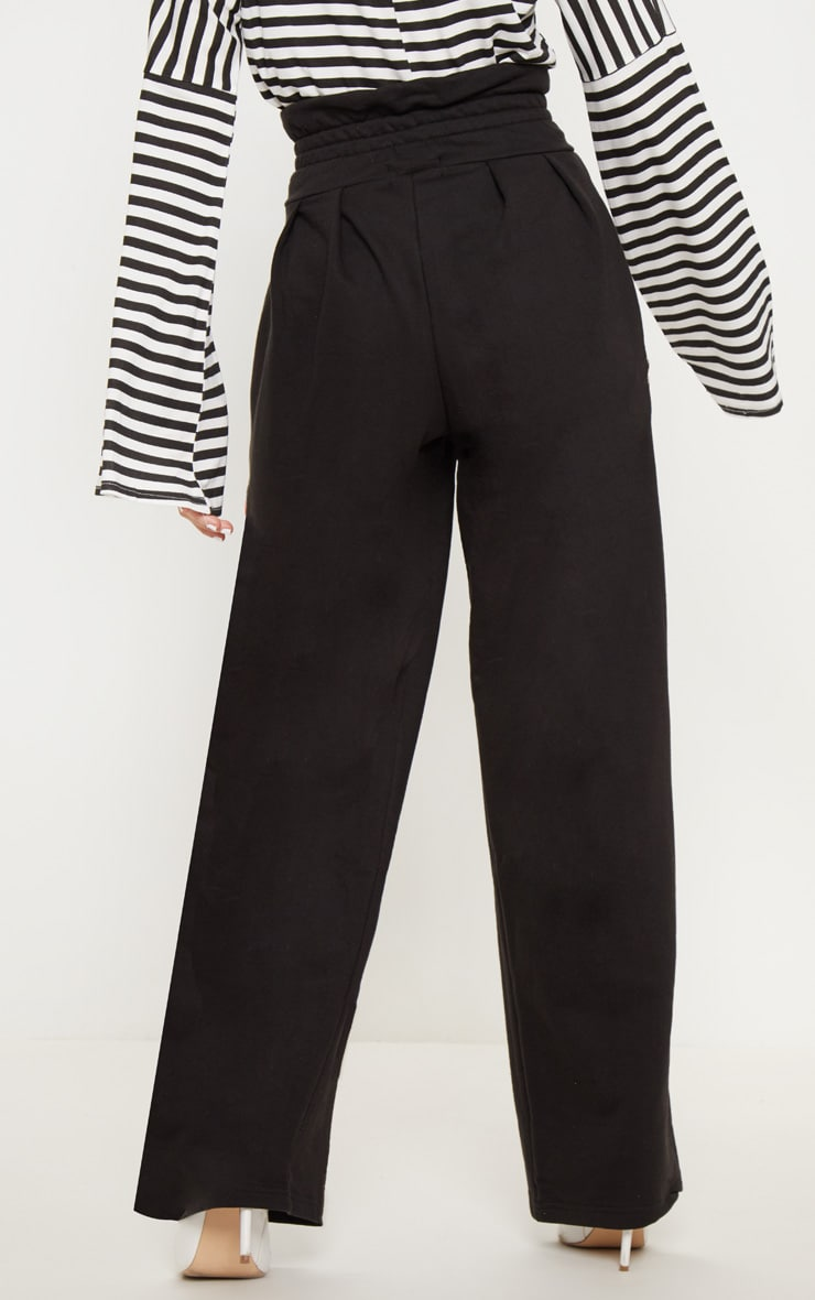 Black Ruched Waist Sweat Pants 4