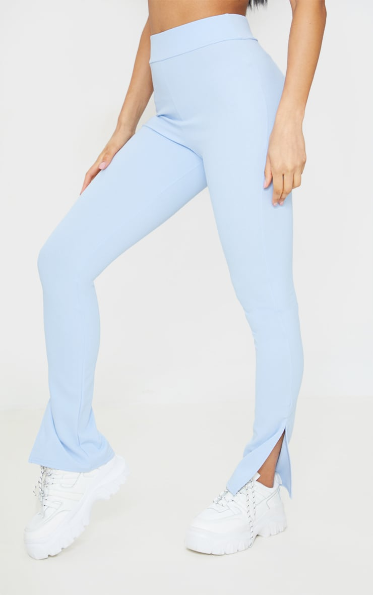 Sky Blue Scuba Split Hem Skinny Pants 2