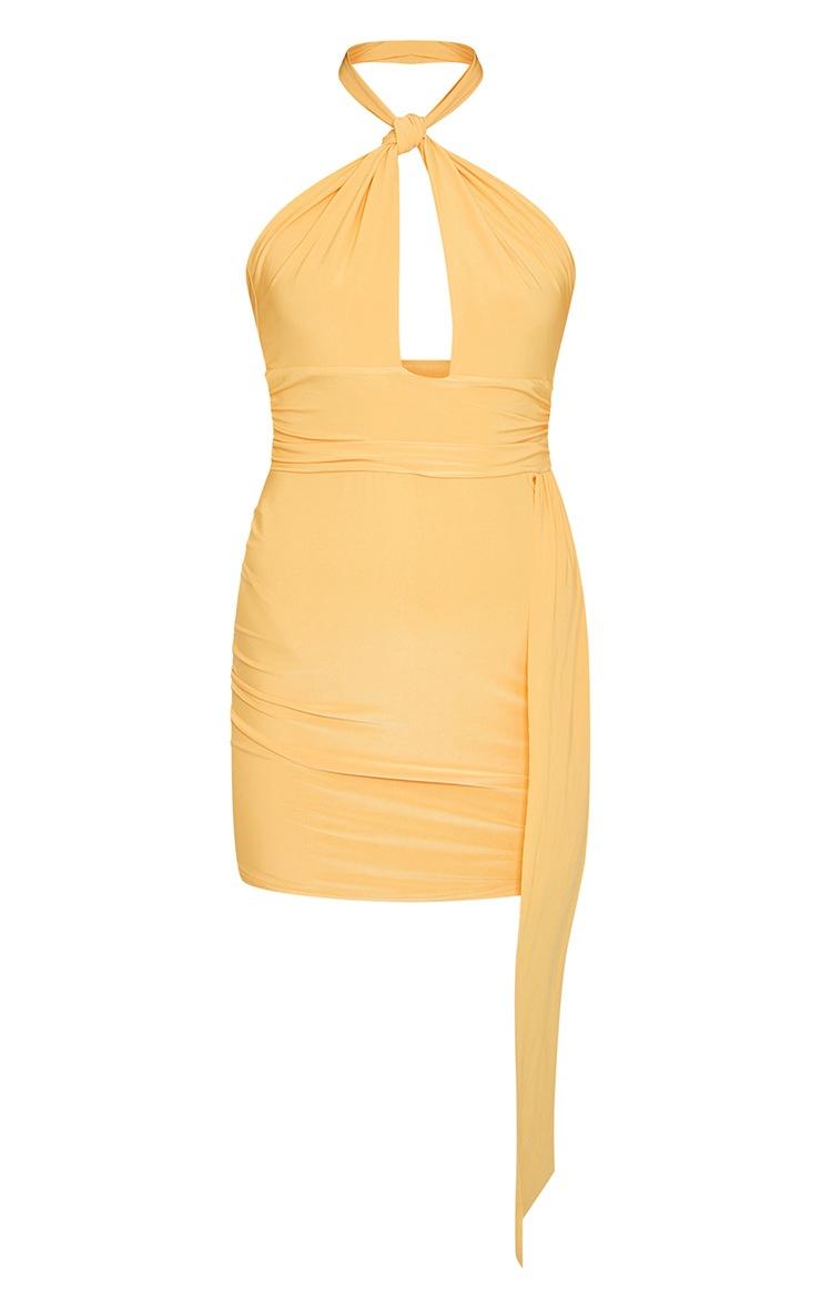 Tangerine Slinky Halterneck Drape Detail Bodycon Dress 5