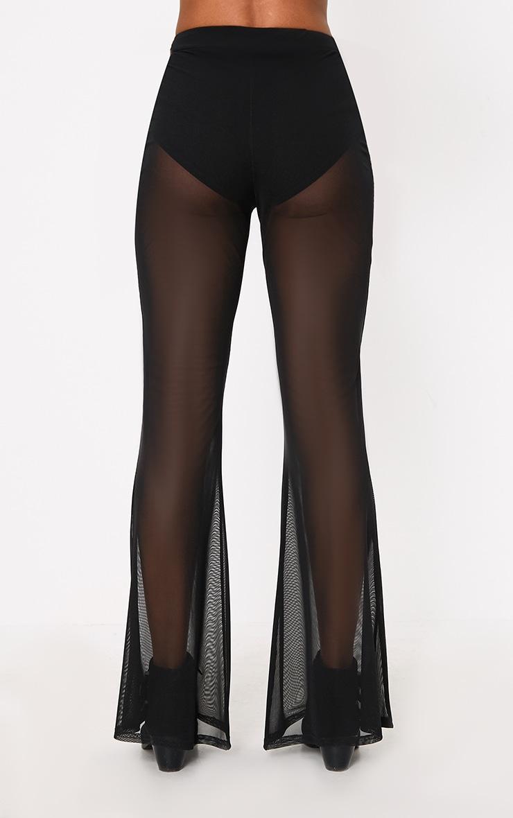 Black Flared Sheer Trousers 3