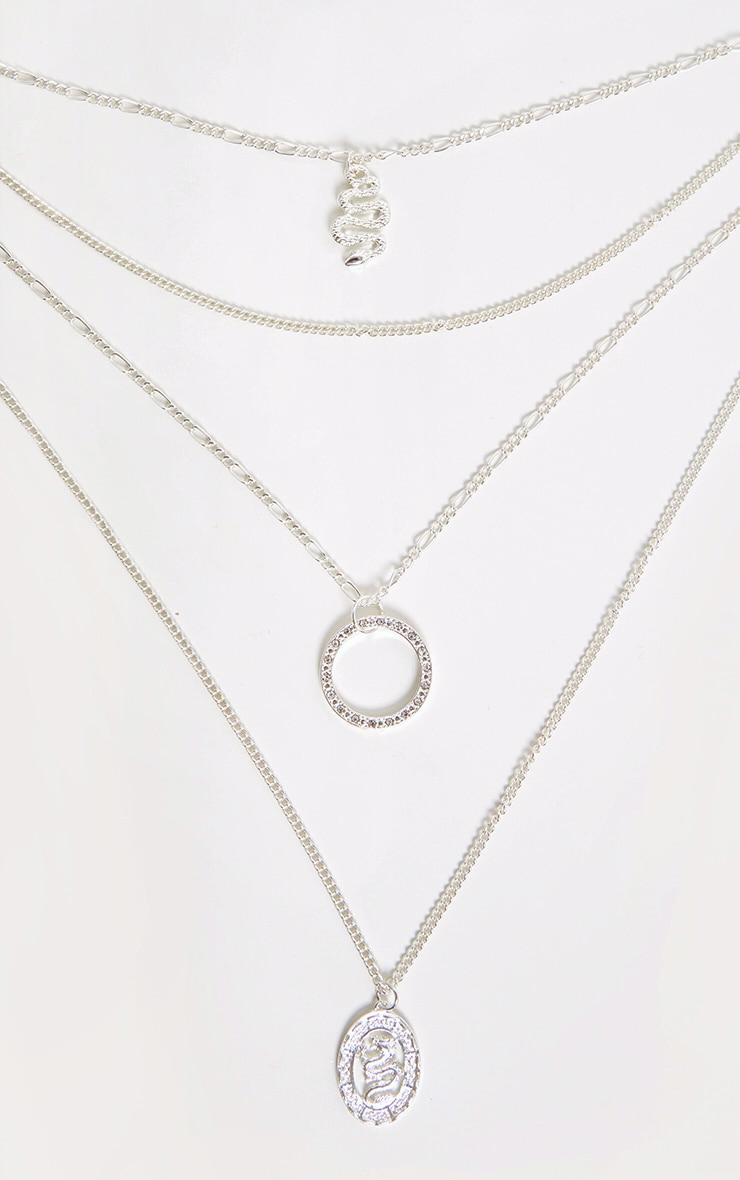Silver Snake Charm Layering Chain Necklace 3