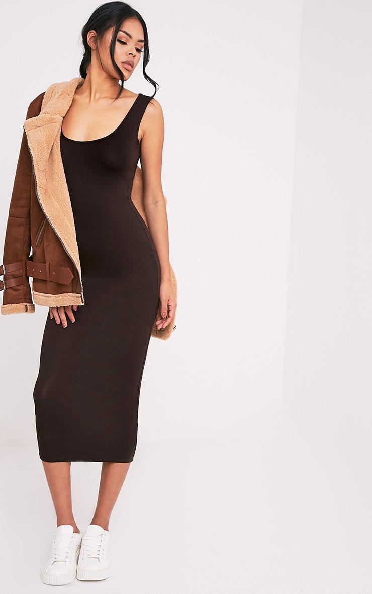 Mirah Brown Scoop Neck Midaxi Dress 6