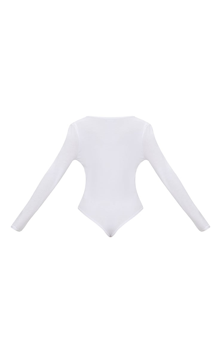 Basic White V Neck Long Sleeve Bodysuit 4