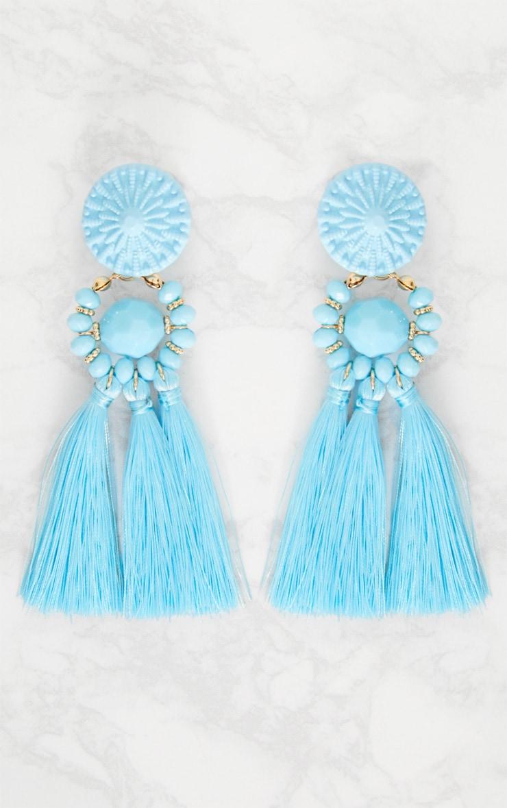 Baby Blue Acyrlic Bead Tassel Earrings 3