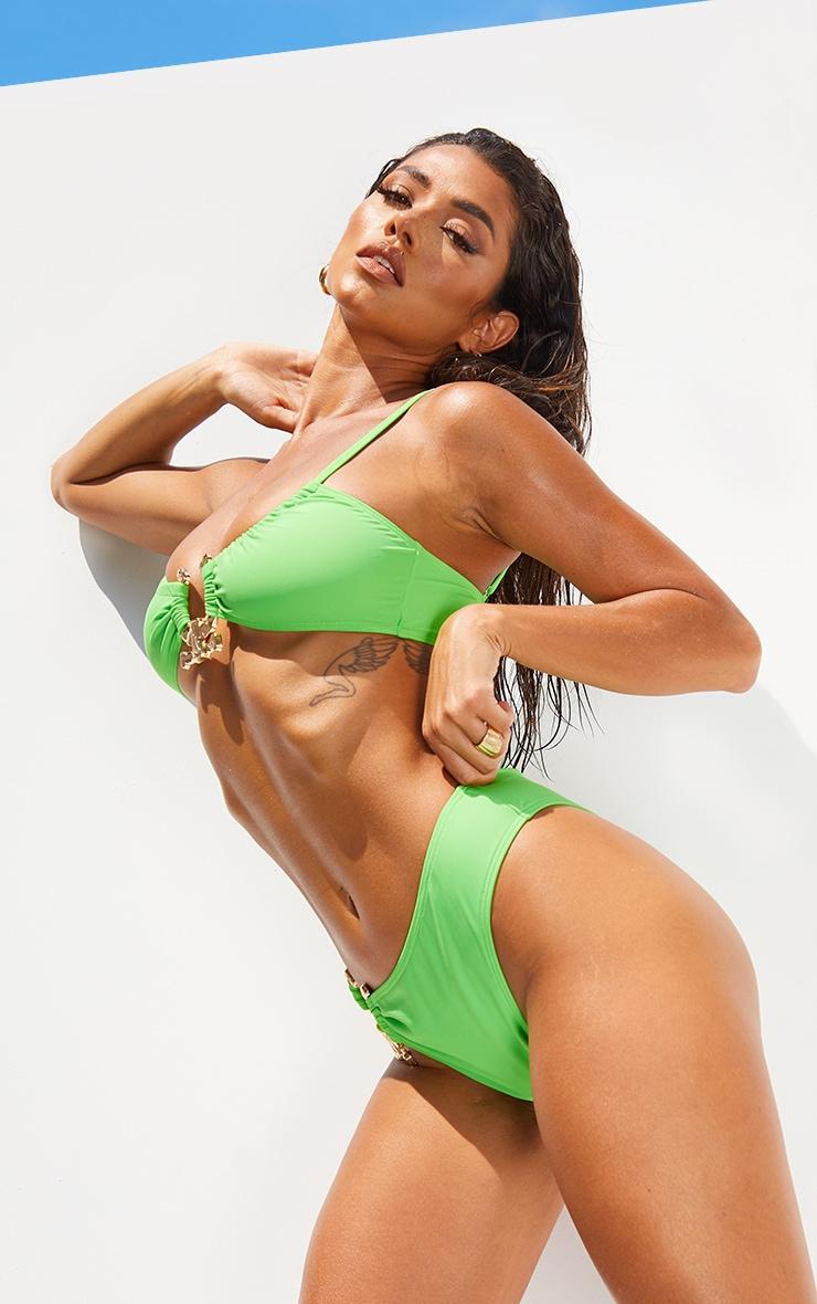 Green Hammered Trim High Rise Bikini Bottoms 2