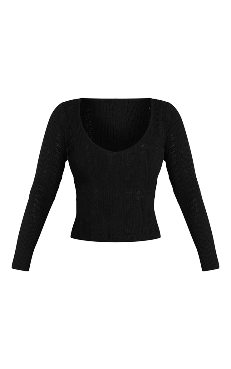 Black Pointelle V Neck Knitted Fitted Sweater 5