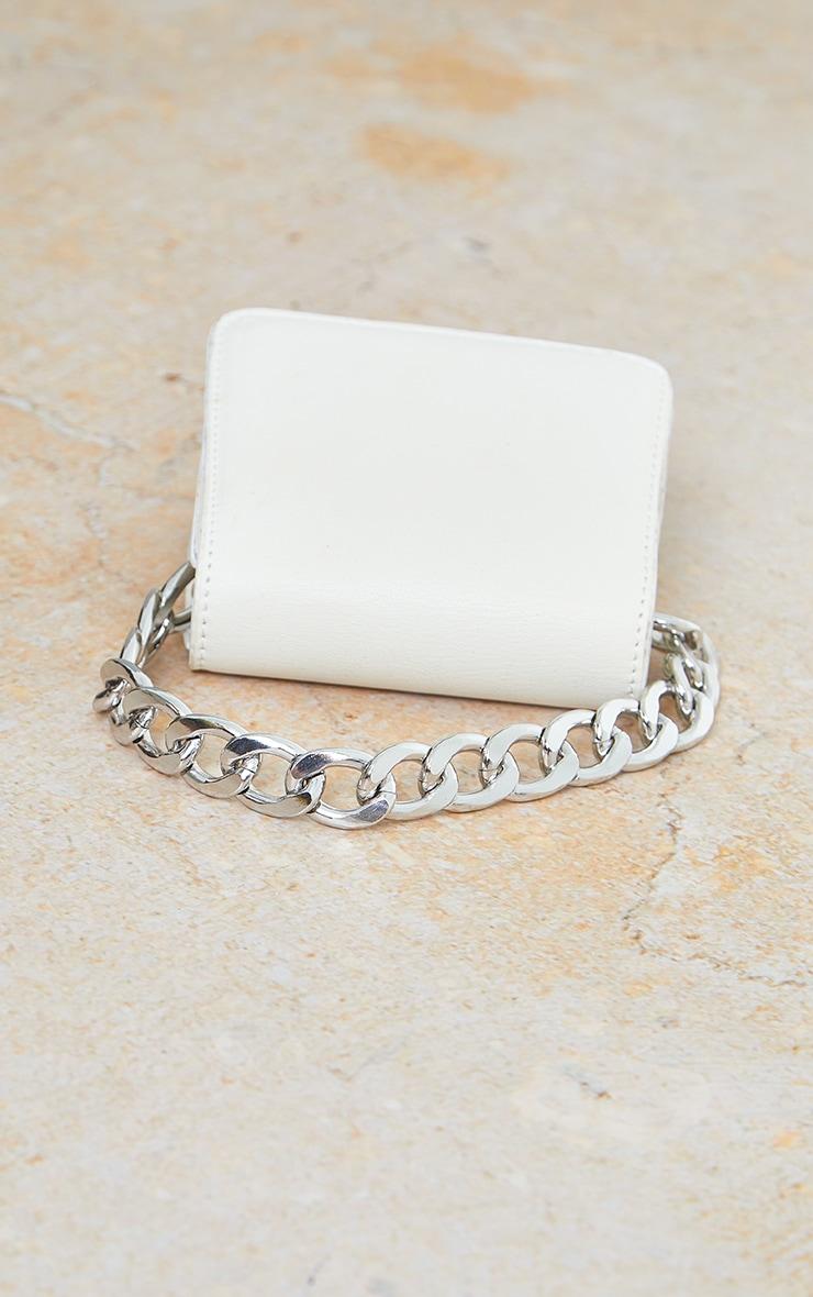 White Pu Silver Chunky Chain Grab Bag 3